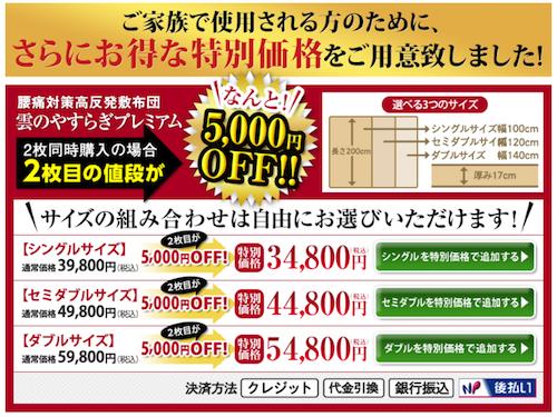 2枚目の値段が5,000円引きで購入できる案内