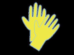 ゴム手袋を使って嘔吐物を処理する